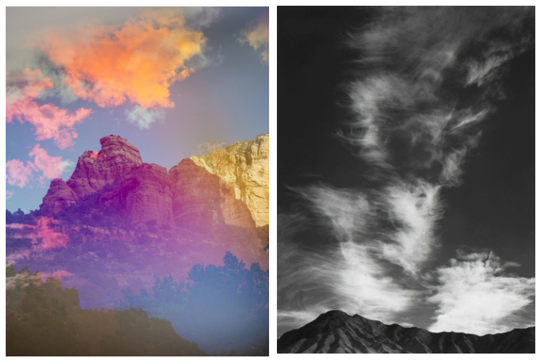 Two landscape photos by Terri Loewenthal,and Ansel Adams are placed side by side; Lowenthal's photo is of a mountain and edited in warm technicolor hues, Adams's photo is in black and white and includes a mountain in the bottom of the frame, but primarily focuses on the vast sky.