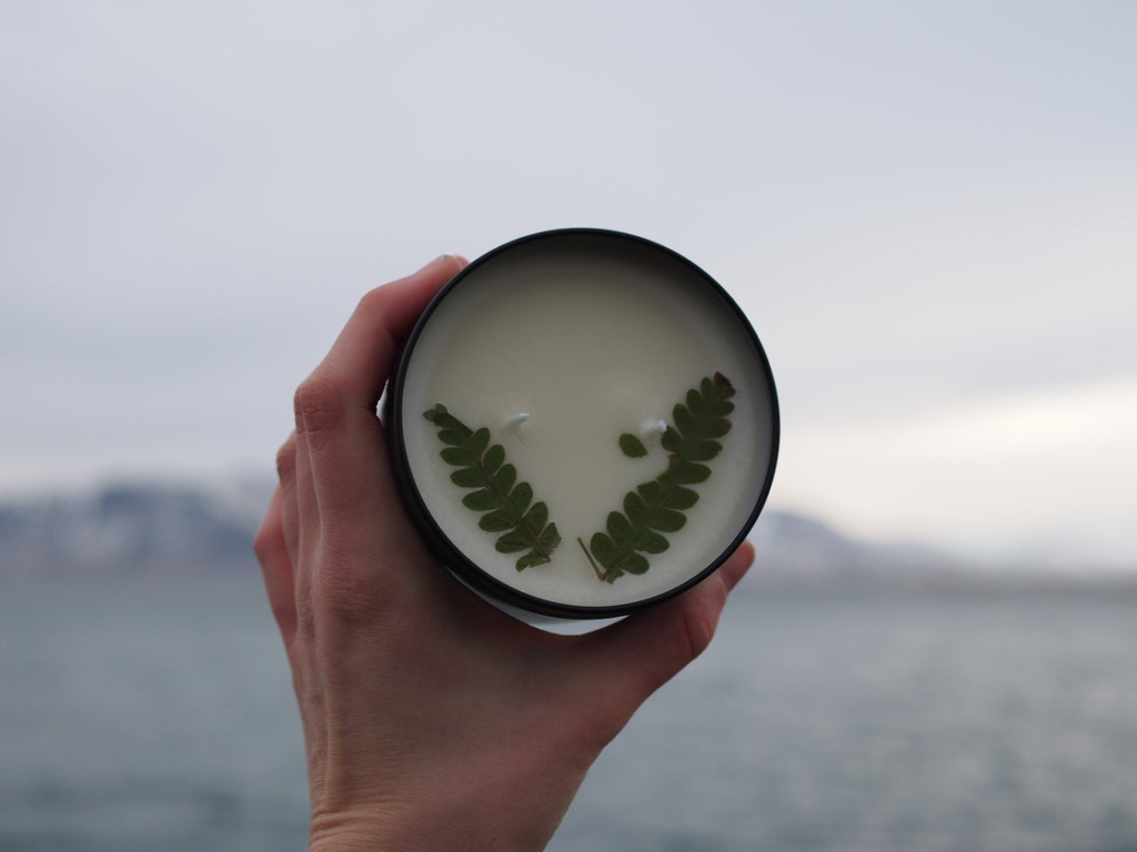A Basil & Amber scented Queer Candle Co. candle is held up in front of a blurry background of mountain scenery