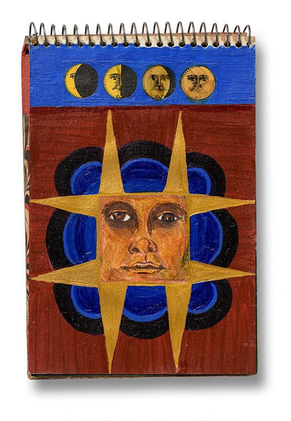 A work from Betye Saar's sketchbook that features the four stages of the moon at the top, each with a face, followed by, in the center of the page, a large face in the middle of a seven-point star atop a blue and black imperfect circle and reddish background.