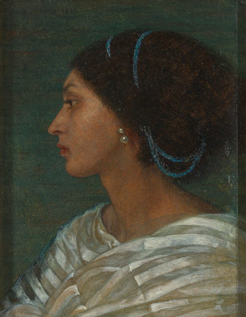 Joanna Wells, Study of Fanny Eaton, 1861; On view in Pre-Raphaelite Sisters at the National Portrait Gallery, London; Yale Center for British Art, Paul Mellon Fund