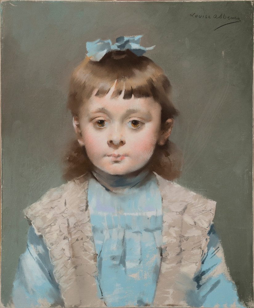 Straightforward pastel portrait of a young girl. She has light-skin, brown eyes and brown hair, which is held in place by a light blue bow that sits atop her head. It matches her blue dress, which is overlaid by a light shawl. She looks forward, with a focused gaze.
