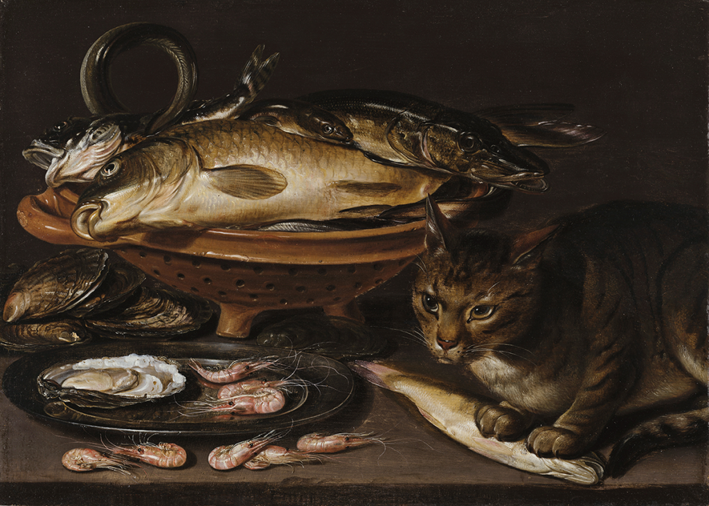 A dark still life oil painting that shows a bowl of dead fish and a plate of shrimp and clams, along with a cat with his paws on one of the dead fish.