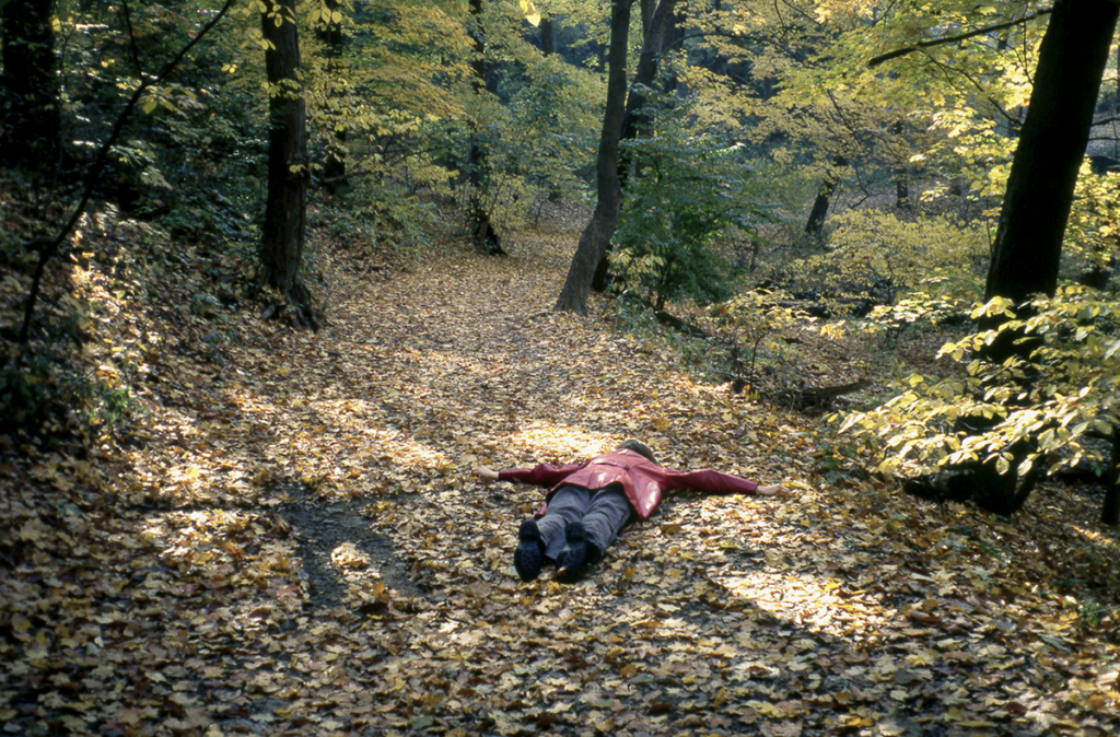 A woman lies face down in a leaf-covered path in the woods. Next to the woman is a cleared space where her body was, too.