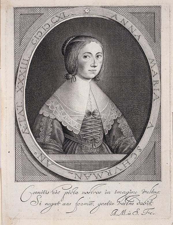 An engraved self portrait in black and white of Anna Maria van Schurman, she wears typical dress of the 1600s and looks to the left.