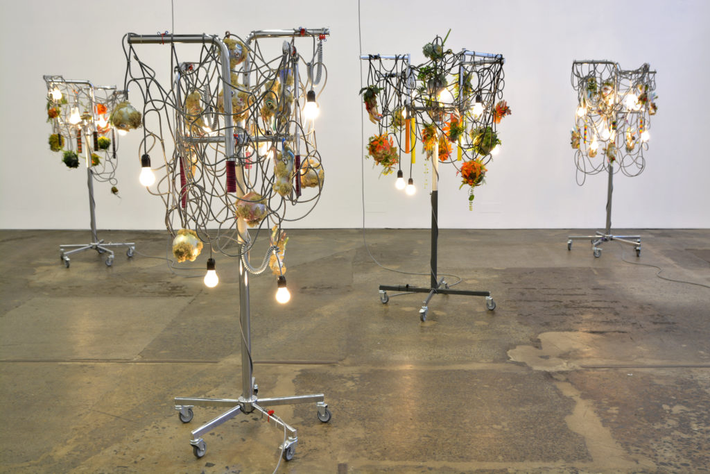 Haegue Yang, Strange Fruit, 2012–13; Six light sculptures; Museum of Contemporary Art, Los Angeles; Purchased with funds provided by the Acquisition and Collection Committee Installation