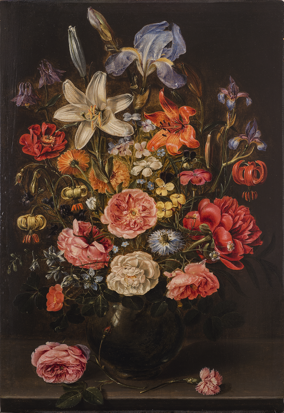 Clara Peeters, A Still Life of Lilies, Roses, Iris, Pansies, Columbine, Love-in-a-Mist, Larkspur and Other Flowers in a Glass Vase on a Table Top, Flanked by a Rose and a Carnation