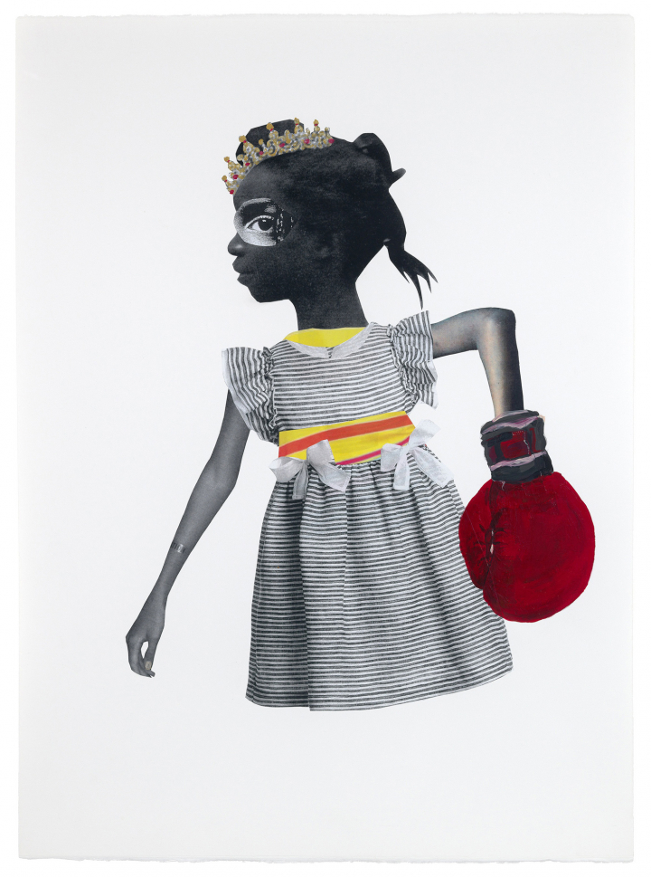 A collage image of a young girl wearing a crown and boxing glove, facing the left of the page. She wears a striped dress with two bows and has no legs.