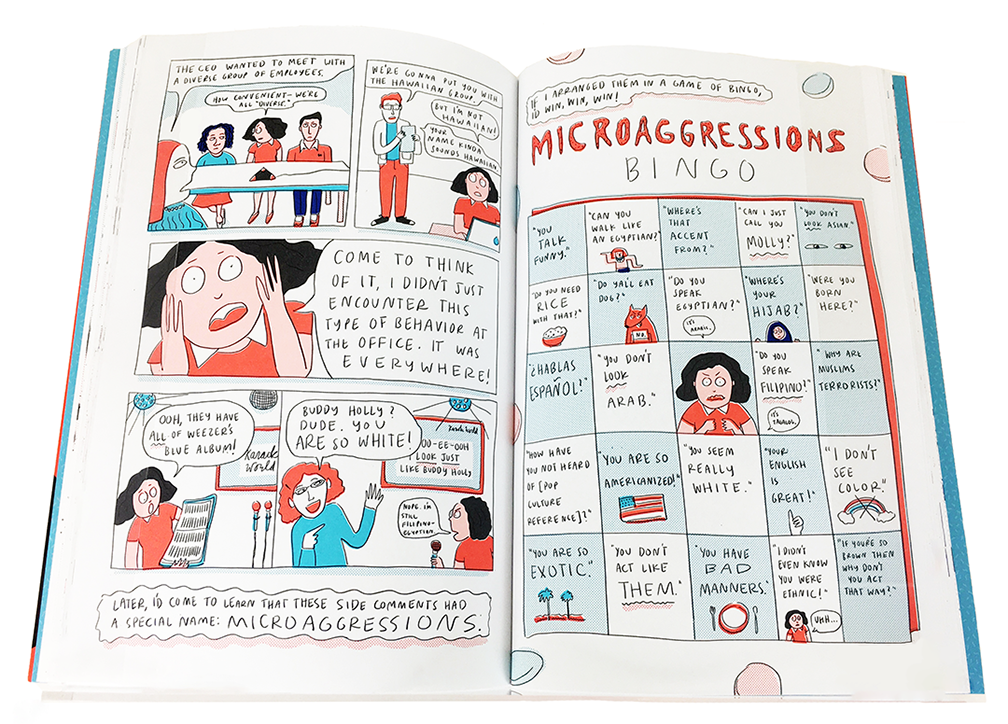 "Interior detail from ""I Was Their American Dream"" which depicts, in cartoon format, the author's Microaggressions Bingo interactive spread."