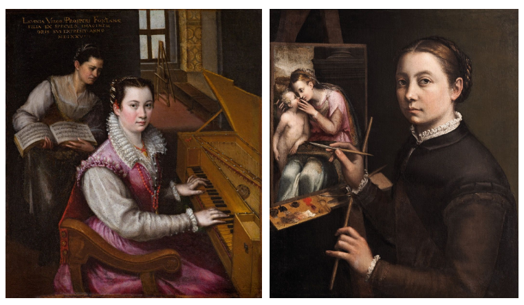 A composite of two self portraits from female Old Masters. On the left is Lavinia Fontana's Self-Portrait at the Spinet in which the artist wears a regal purple dress and sits at the piano, behind her in another room an easel stands, she stares directly at the viewer. On the right is Sofonisba Anguissola's Self-Portrait at the Easel in which the artist is pictured from the waist up wearing black, with paintbrushes in hand, staring straight at the viewer. The painting she is working on pictures a woman and a naked small child.