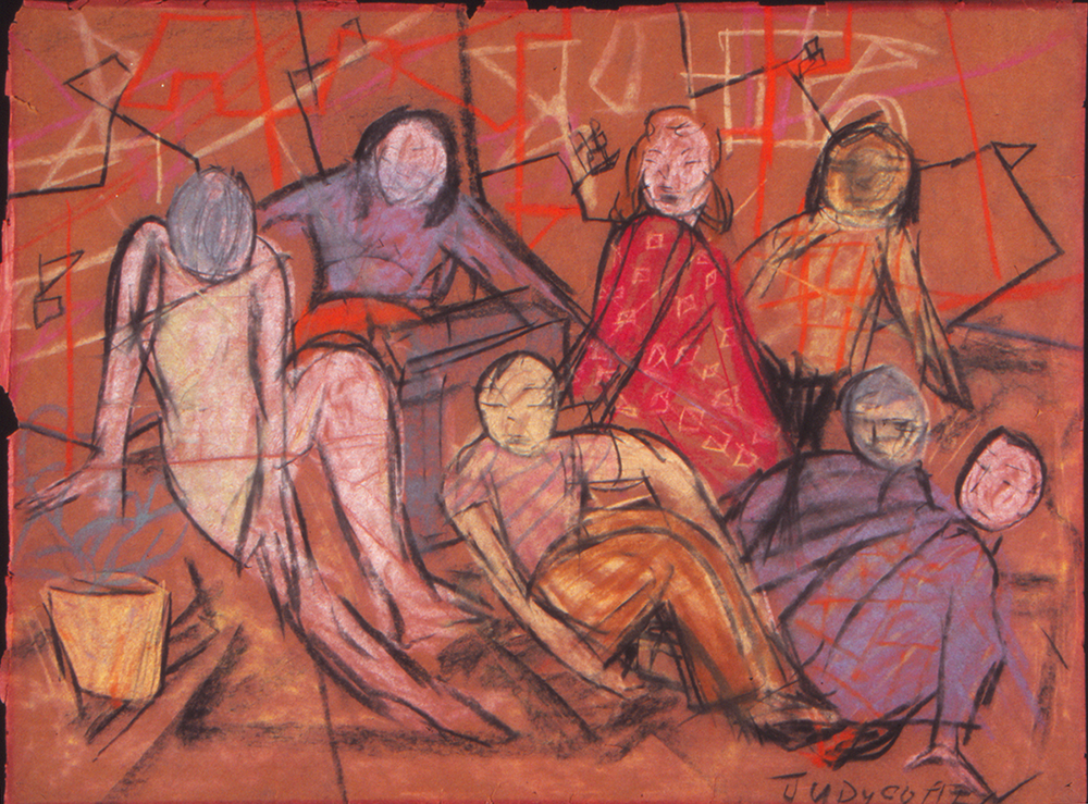 """A figurative drawing on orange paper of a group of six people--some with faces, others not--who sit together. The background shows a bunch of shapes and squares in orange and yellow colored pencil.""""Judy Cohen"""" is signed in block print in the drawing's lower right corner."""