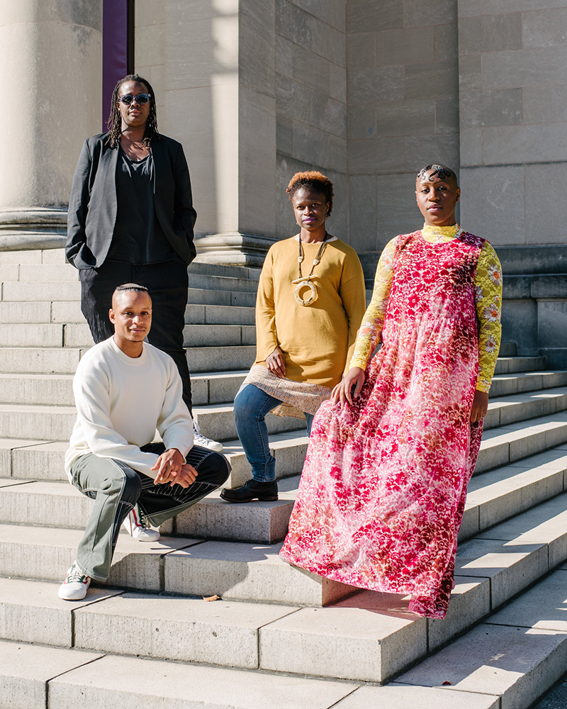 Clockwise from left, Mickalene Thomas (in sunglasses) included the artists Zoë Charlton, Theresa Chromati, and Devin N. Morris in her show at the Baltimore Museum of Art; Photo by Andrew Mangum for the New York Times