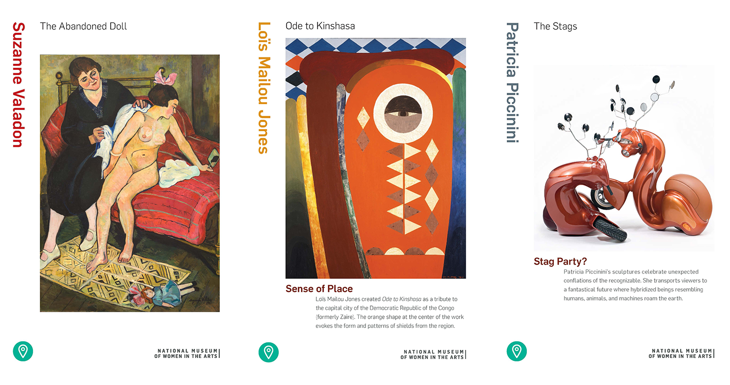 A sample of three informational cards on artworks in our collection that displays the artist name, artwork title, and artwork image.