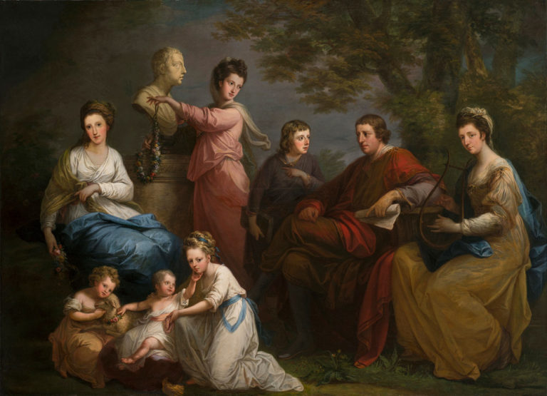 A realistic painting features eight light-skinned figures arranged in a pastoral setting: three women, two men, and a young girl tending to two toddlers. The scene includes classical references such as lyrical costumes, lyre, scroll, floral garlands, and marble bust.