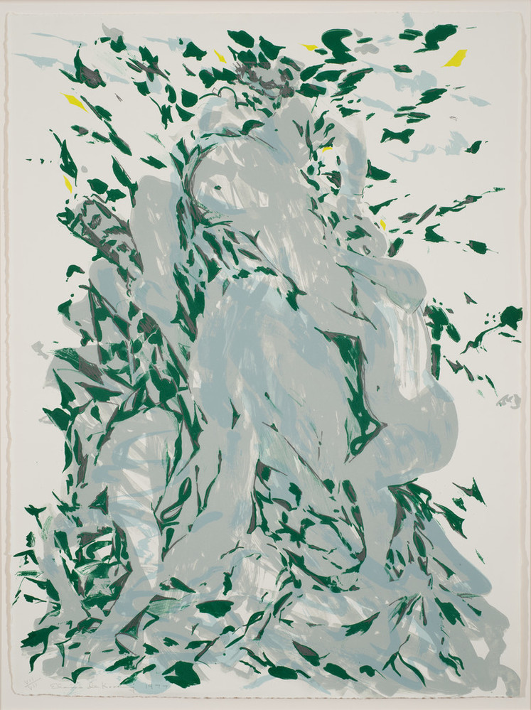 Large, vertical, abstract print featruing a central figure group in bachanalian revelry surrounded by nature. The expressively rendered figures are a pale grey surrounded by bursts of dark green, leaf-like shapes.