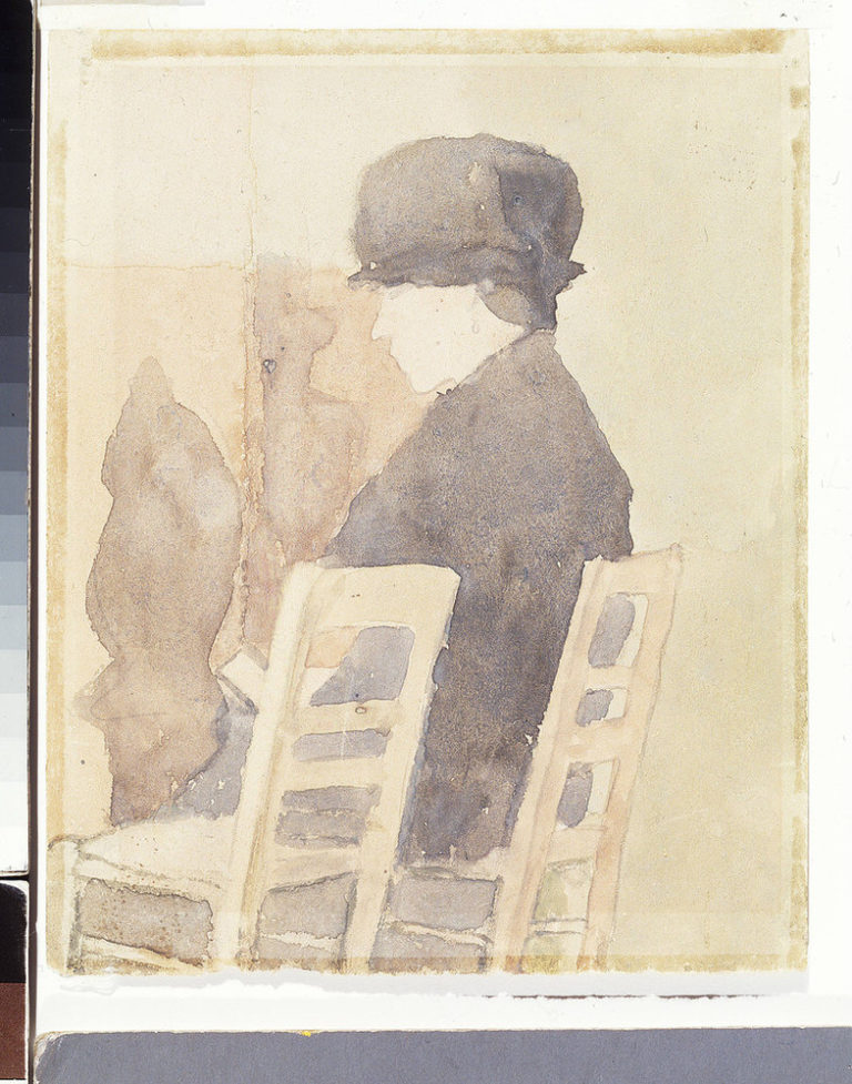 Watercolor sketch rendered in muted neutral tones, features a light-skinned woman sitting in a ladderback chair parallel to the viewer, with an identical empty chair next to her in the foreground. The woman wears a dark hat and coat, her head bent forward reading a paper in her lap.