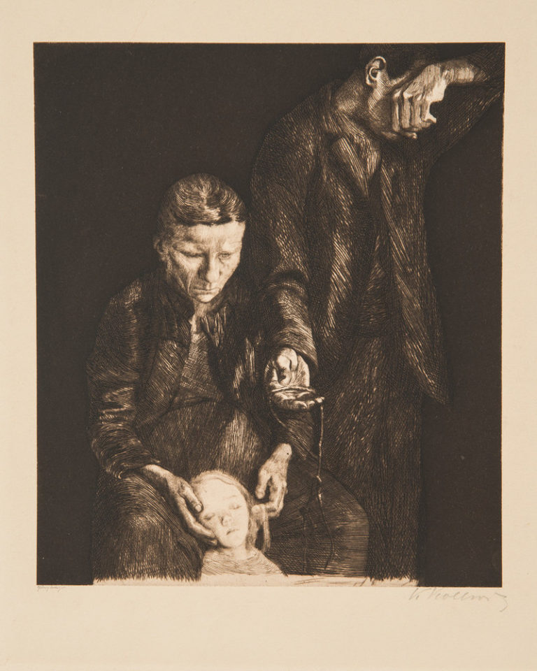 Print depicting a woman cradling the head of dead or ailing child in her lap; a man standing to her left turns away, covering his face with a hand.While the overall composition is black, with touches of light defining the features of the couple, a bright light illuminates the child's visage.