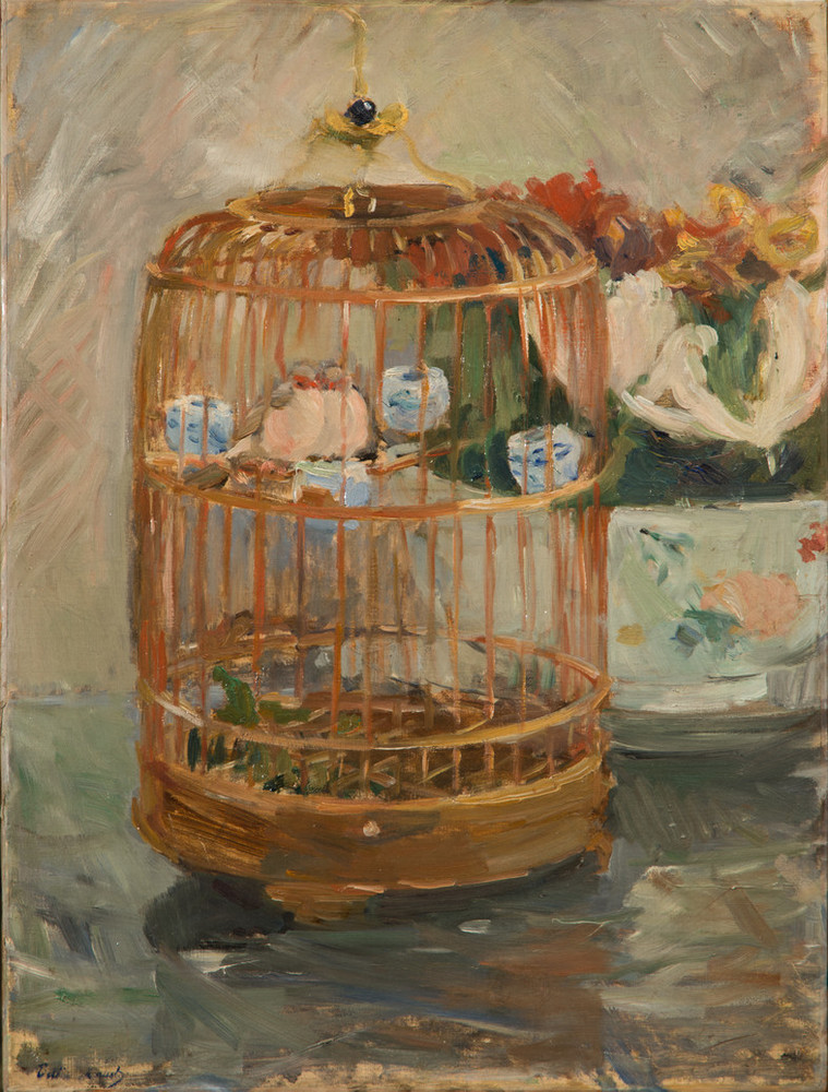 Rendered in loose, impressionistic brushstrokes in muted pastel tones, the still life painting depicts a brass birdcage with two small birds cuddled next to each other on a perch. The cage sits adjacent to and partially obscures a bowl of lush red, yellow, and white flowers.