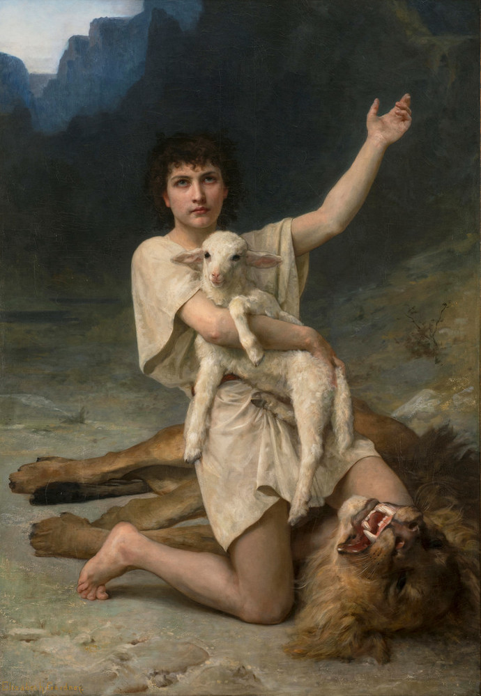 Realistic painting depicts a ight-skinned young man with dark curly hair, wearing a white tunic, set before distant mountains. He is kneeling victoriously atop a fearsome dead lion, clutching a serene lamb his right arm and gesturing heavenward with his left arm.