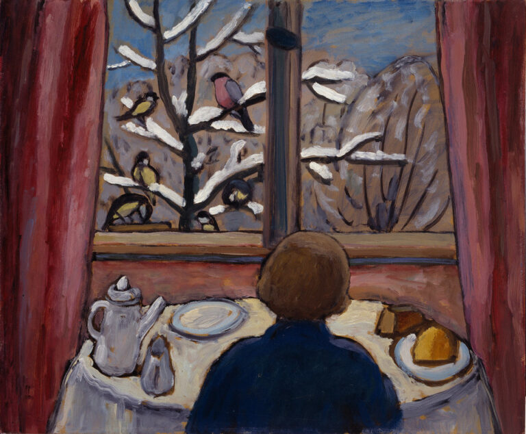 Using loose brushstrokes, a woman seated at a table in front of a window with her back to the viewer. The table is set with a teapot, creamer and plates with pasties. Outside the window is a winter scene with five birds perched upon the snow-covered branches of a barren tree.