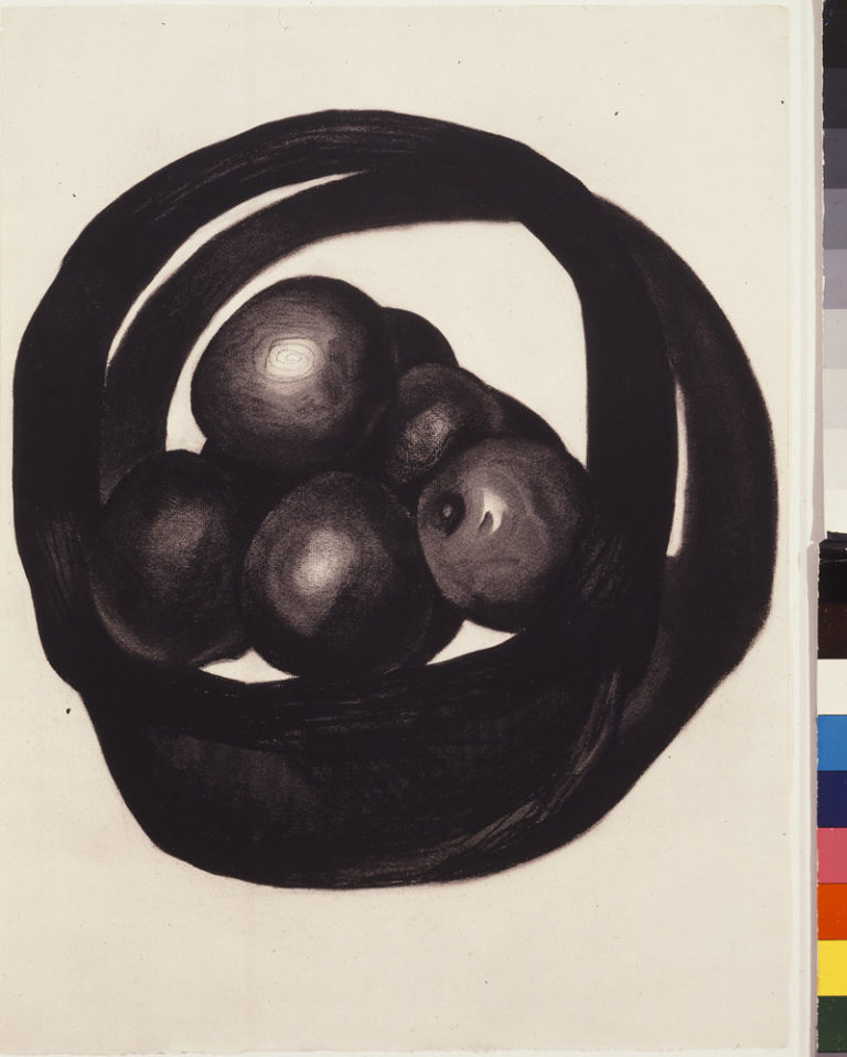 A still life of avocados in a basket rendered in charcoal on a white ground uses radically simplified forms. Two offset circles evoke a basket and its shadow. Within the circles, ovals highlighted to imply 3 dimensions, seem to hover above, not sit within, the basket interior