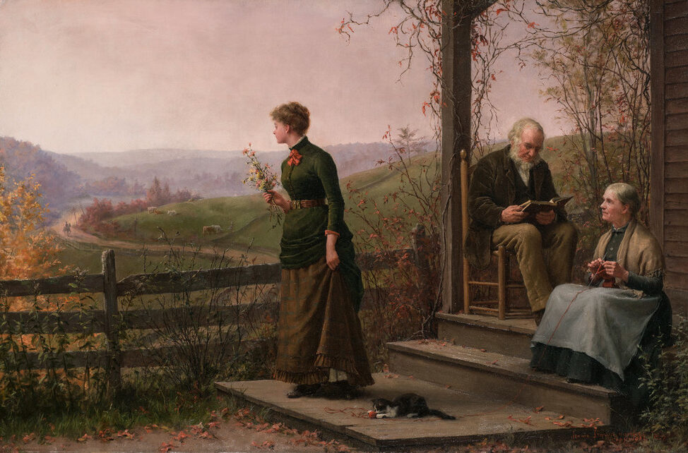 A young woman in 19th-century dress stands before a wooden house in an idyllic rural landscape. She holds a bouquet and gazes at a distant horse and rider. A gray-haired woman knitting on the porch steps pauses to watch her. On the porch, a gray-haired man concentrates on a book.