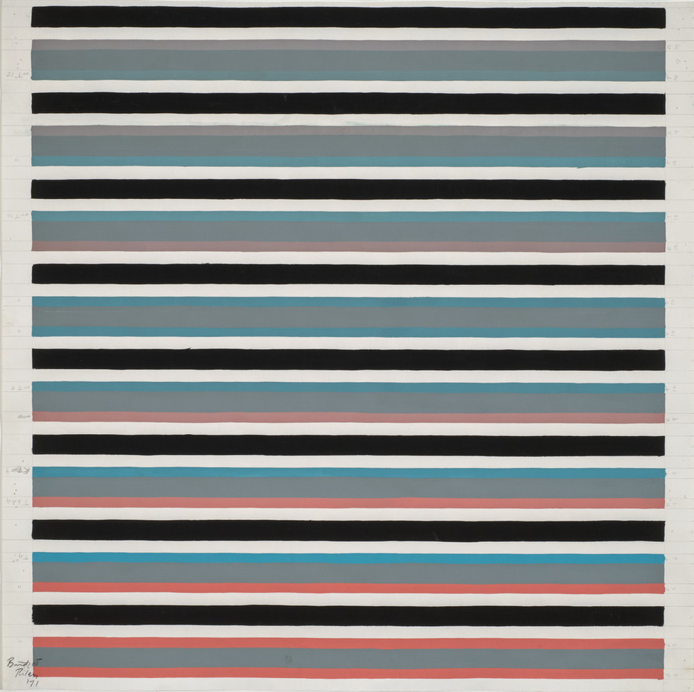 Painting shows eight sections of horizontal lines in muted hues of red, turquoise, and gray separated by thick black lines and spaces of white. Each color block is made of three colors, starting with grey and blues at the top, and moving progressively to warmer colors at the bottom.