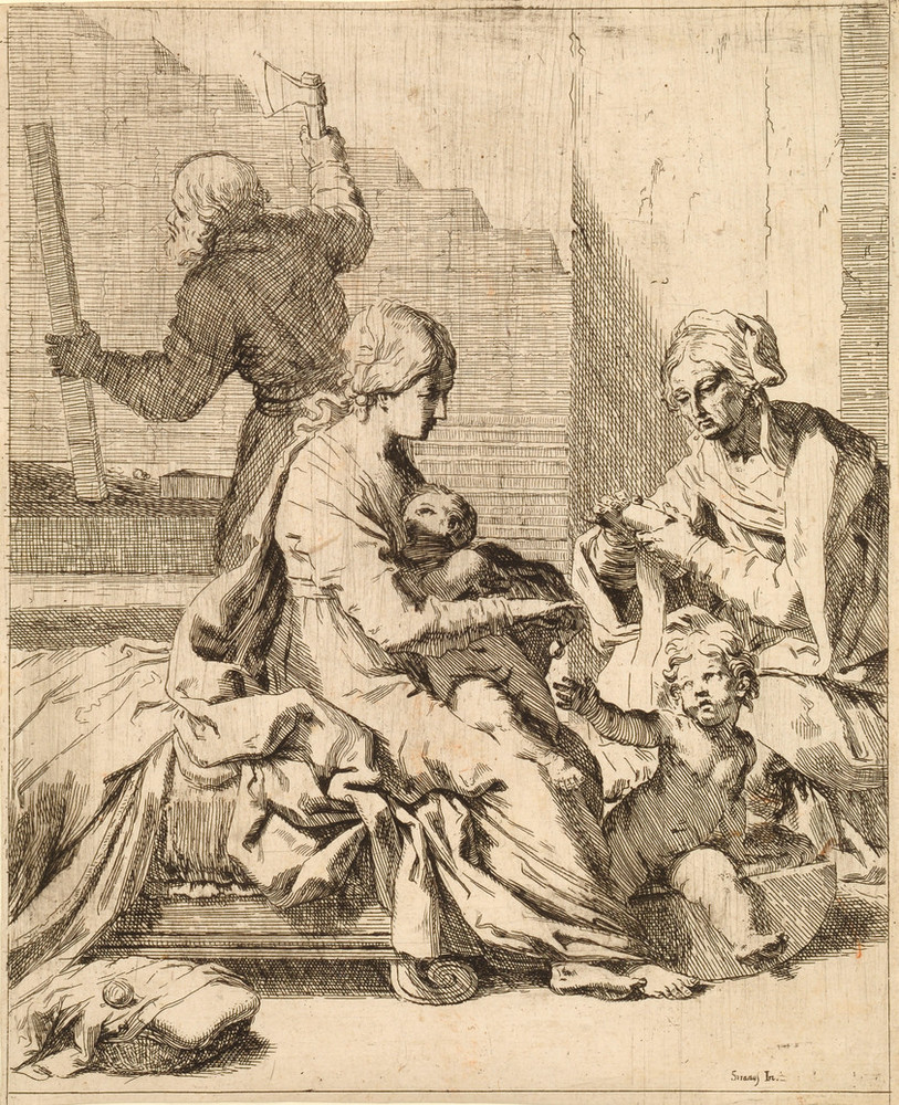 Etching shows the Virgin Mary nursing Jesus and dangling an object for a toddler-aged Saint John. Saint Elizabeth is on the right, her face weathered and her hands occupied. Saint Joseph, carpentry tools in hand, occupies the background, a raised axe in his right hand.