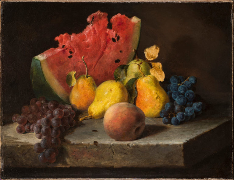 A juicy, cracked slice of watermelon, four glossy yellow pears, a fuzzy peach, and clusters of black and purple grapes sit on a medium-gray ledge against a dark background. Rendered with precise details and accurate textures, the fruit tempts viewers with its realism.