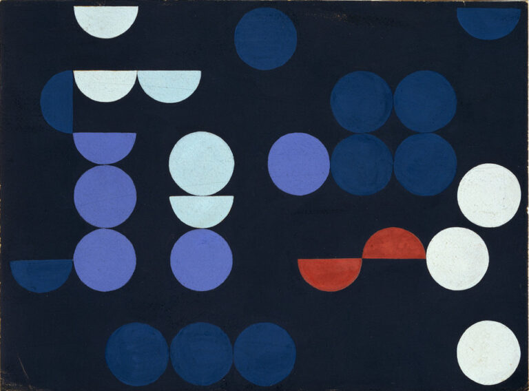 An abstract painting features a mix of similarly sized circles and semicircles in white, red, and multiple shades of blue placed against a dark background.
