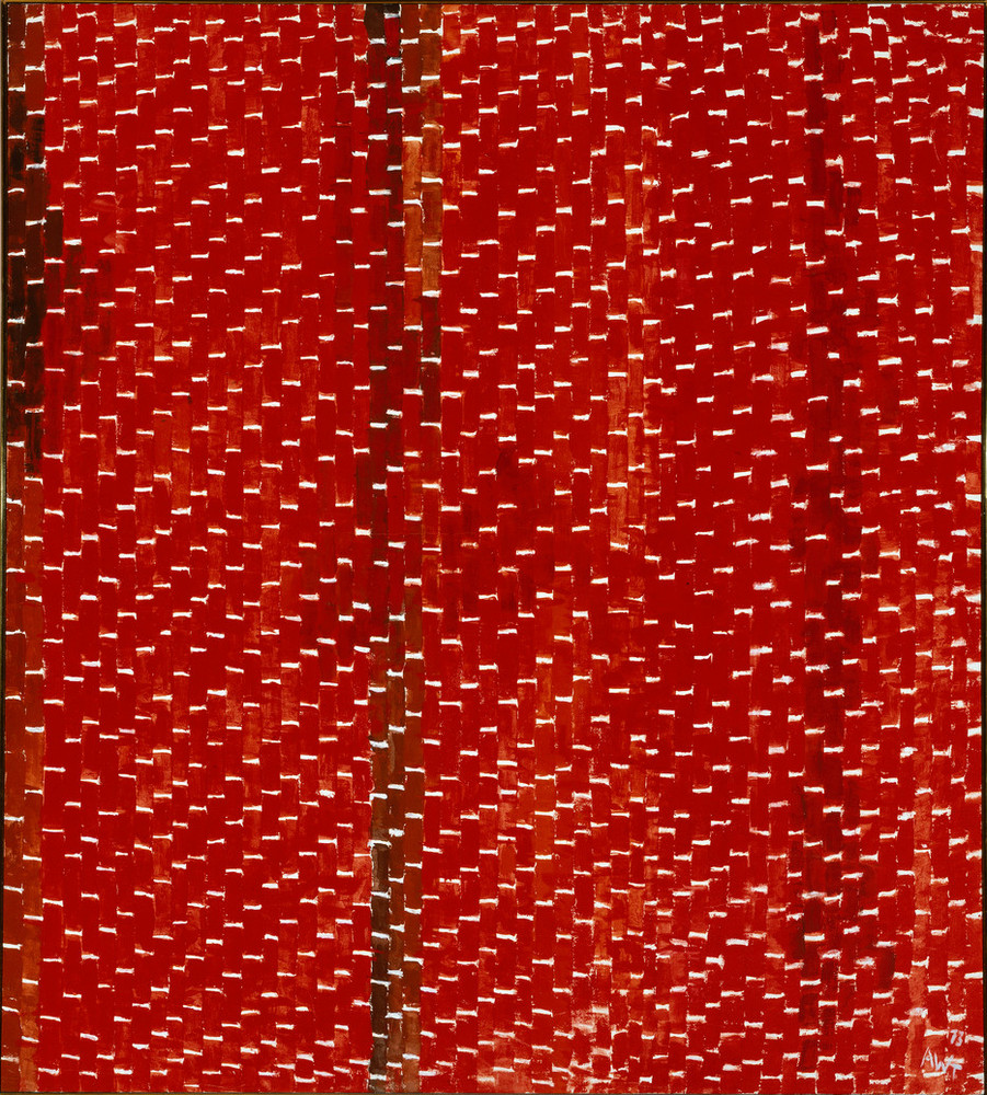 Painting features vertical tile-shaped brushstrokes in various shades of red separated by horizontal white lines. Creating a rhythmic and mosaic-like pattern that resembles stitching, the white lines create stairsteps in the lower right corner, separating as they move towards the center.