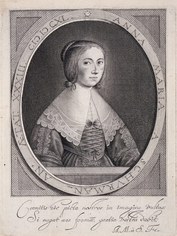 Three-quarter self-portrait print set in an oval with inscriptions along the perimeter depicts a light-skinned young woman with hair pinned up, wearing an elegant dress with an oversized lace collar and sleeves, gazing directly at the viewer.