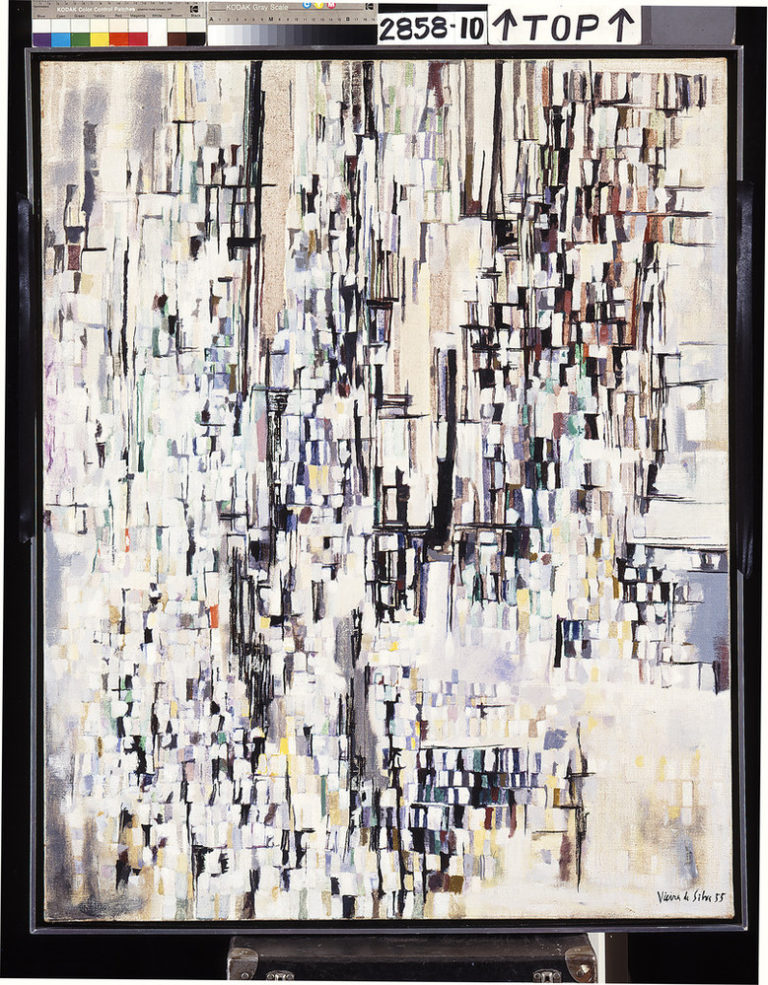 Abstract painting in the mid-century modern style presents a cityscape in whites, blacks, and neutral tones. A complex arrangement of small rectangles form a series of architectural patterns conveying the feel and excitement of a bustling town.
