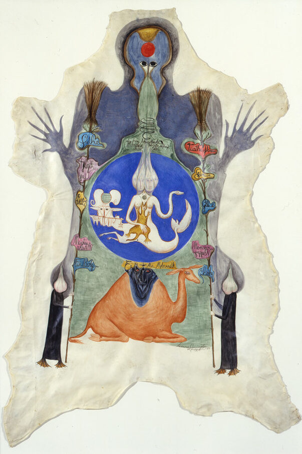 Surrealist painting shaped like an animal skin dominated by a foreboding human-like shape hovering over narrative scenes of animals, human hybrids, and reverse-handwritten Celtic references. At the center, a bright blue circle containing a chimeric figure sits atop a seated camel.