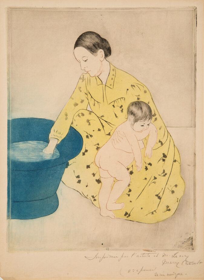 A print shows a dark-haired, light-skinned woman wearing a yellow dress and kneeling near a blue tub. Her right hand tests the water, and her left gently restrains a naked child who faces the opposite direction as if squirming away. Minimal shading flattens the space they occupy.