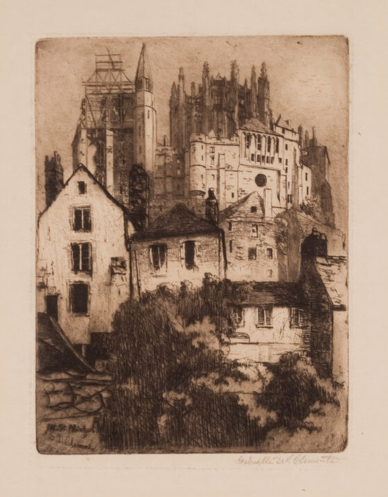 In a sweeping vertical composition, the print depicts an imposing gothic monastery set atop a steep hillside. In the foreground, bushes partially obscure the buildings at the base of the hill.
