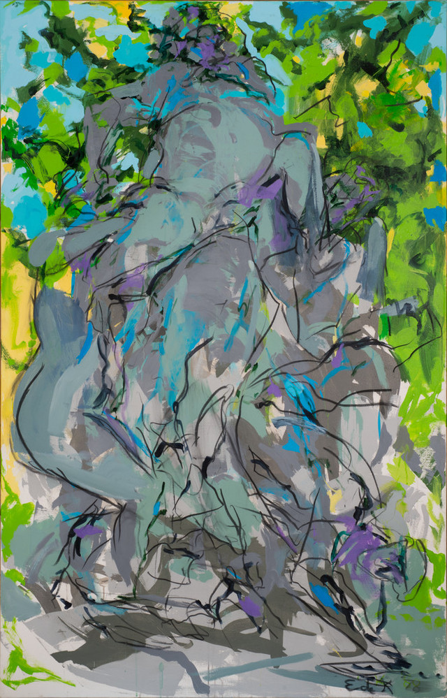 Large, vertical, abstract painting suggesting a central figure group in bachanalian revelry surrounded by nature. The expressively rendered figures are grey with outlines sketched in black, while the surrounding foliage and sky are a jumble of vibrant greens and turquoise blue.