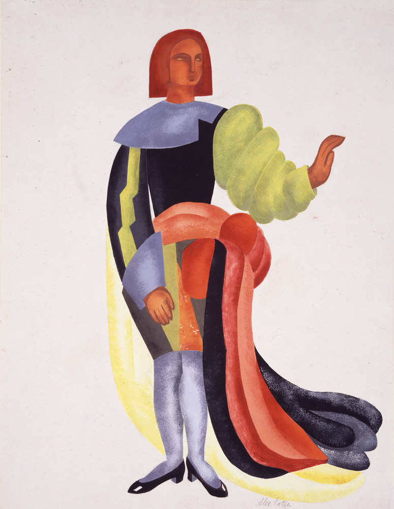 Painting shows a male figure in an elaborate costume. An abstract arrangement of bright colors and unexpected forms features voluminous chartreuse left sleeve, a blue pointed cuff and lightning bolt motif on the right sleeve, a fabric belt and a multicolored train, and black shoes.