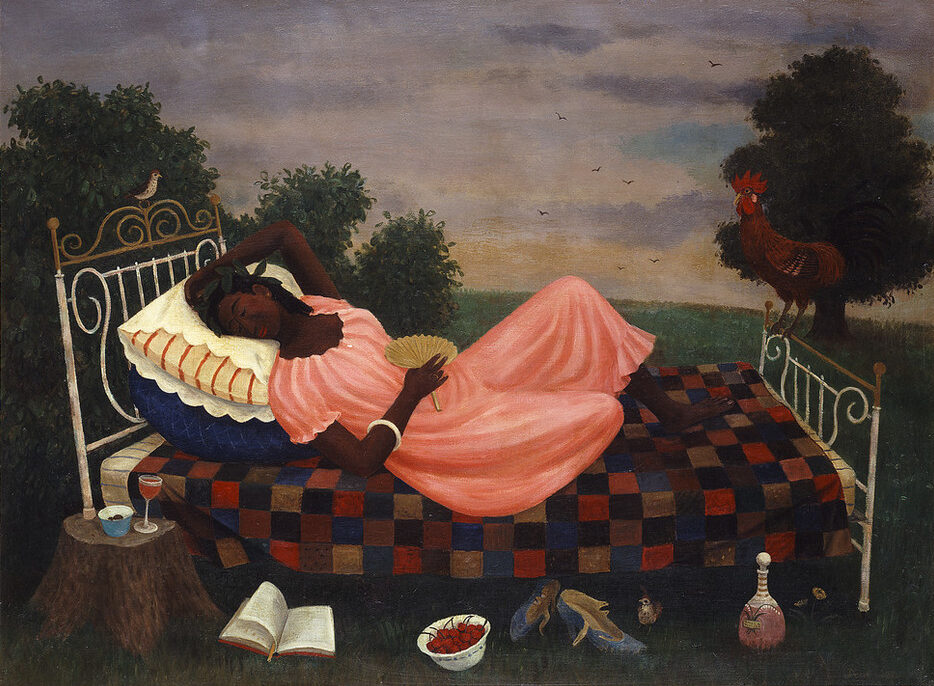 Outdoors, a dark-skinned woman in a peach dress reclines on a bed, a bird perches on the headboard and a rooster on the footboard. In the foreground, a wine glass and bowl sit on a tree stump, and an open book, bowl of cherries, pair of shoes and a wine bottle sit on the grass.