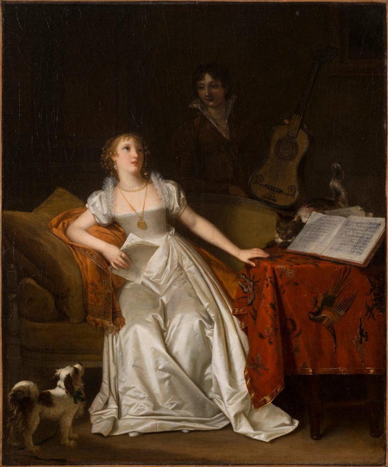A blonde, light-skinned woman in a white satin gown holds music and sits on a settee. Bright light accentuates the singer, casting the dark-haired woman standing behind her with a guitar into murky shadow. A cat crouches on a music-strewn table, staring at the pert lapdog below.