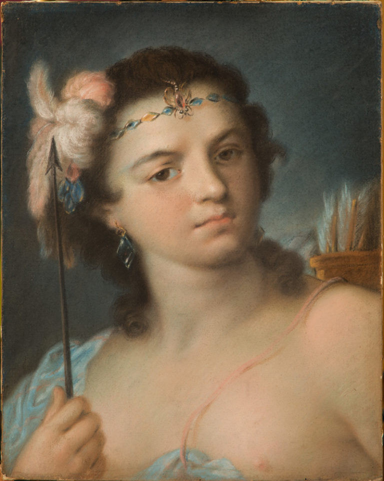 A woman with light-skin and brown hair stands slightly angled and stares straight out to the viewer. In her right hand, she holds an upward-pointing arrow and carries a quill of bows on her back. She wears light feathers in her hair and a delicate jeweled crown.