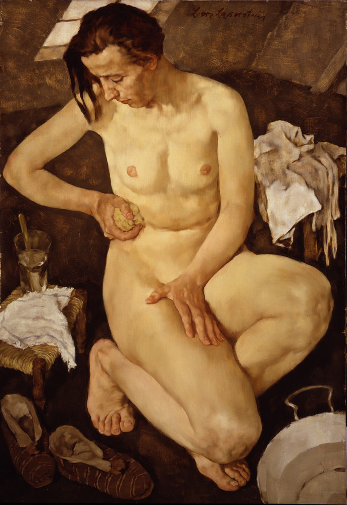 A light-skinned adult woman crouches near a small washtub and sponges her torso. One small bench holds a washcloth and water glass while garments rest on another. Posed within a cramped attic room and viewed from above, her body dominates the canvas and appears too large for the space.