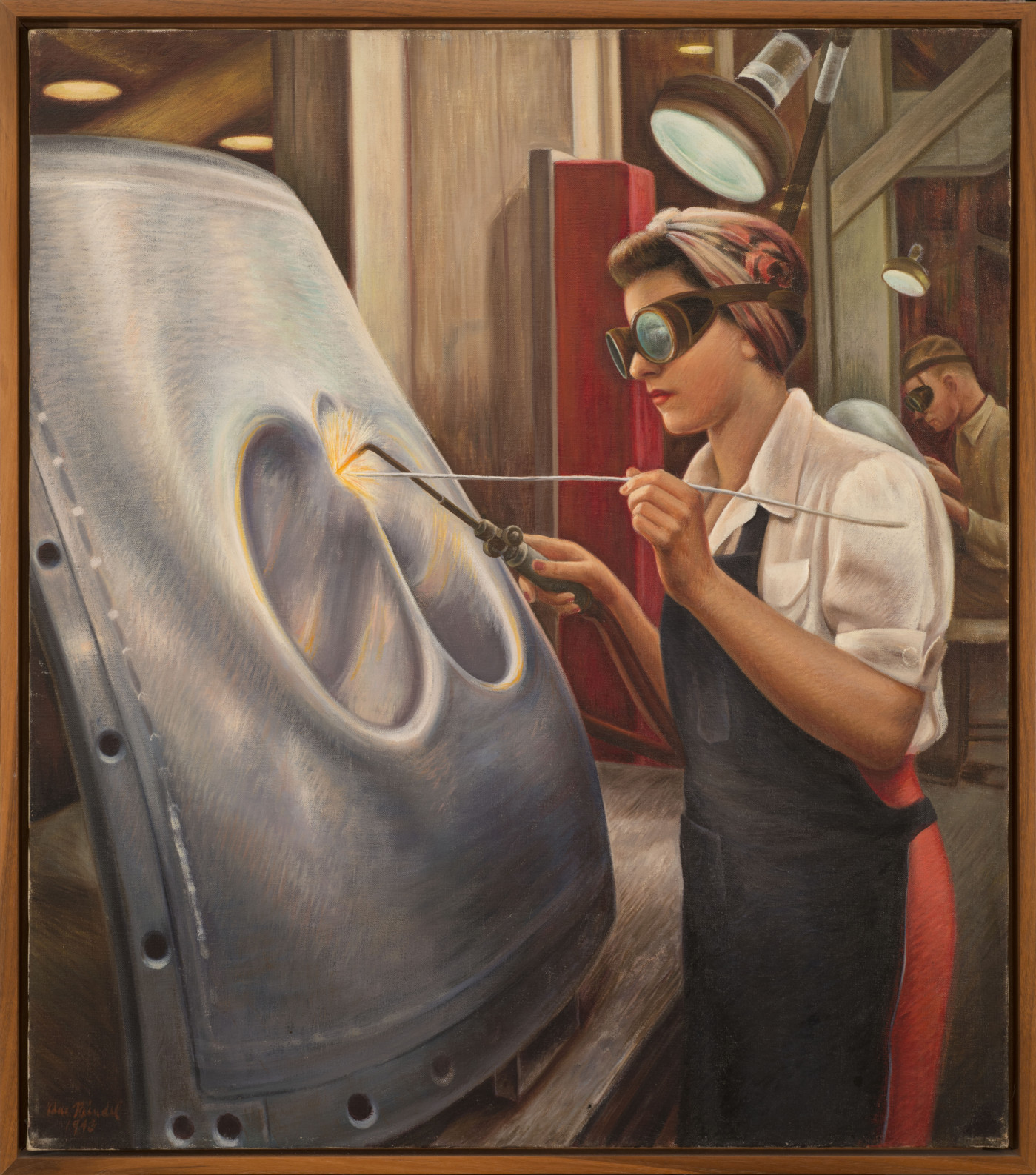A painting of a light-skinned woman standing before a large, shaped piece of metal. She wears a white blouse, a black apron and brown goggles, with her hair tied in a scarf. She holds two welding tools. Sparks fly where her tools touch the metal. Another welder is in the distance.
