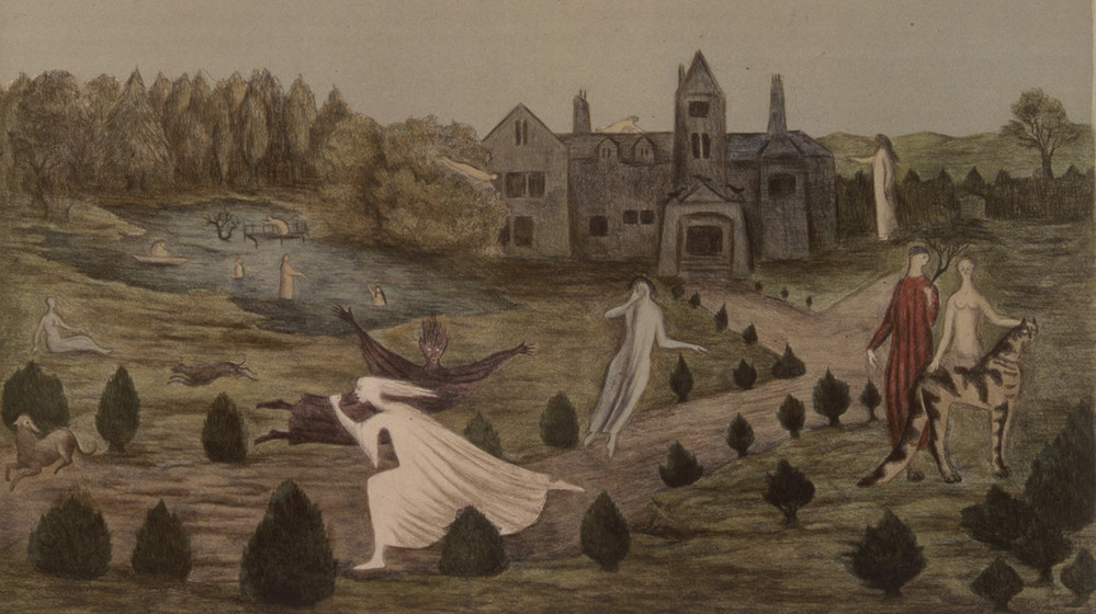 Eerie figures walk, float, swim and stand in a pastoral landscape. A grey house sits next to a small body of water, the lawn decorated with small shrubs and trees. A pair, one dressed and one nude, pet a stripped animal as ghostly figures move through the foreground.