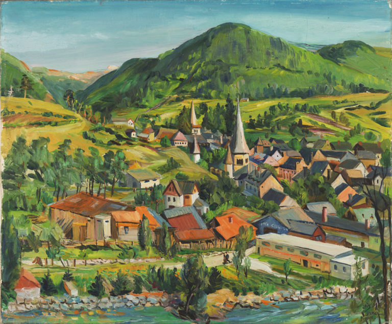 Beneath a soft blue sky, a picturesque village nestles in a valley between a river in the extreme foreground and verdant mountains. Combining loose and discrete brushstrokes with a palette of greens and golds, the painting recalls Paul Cézanne's late 19th-century landscapes.