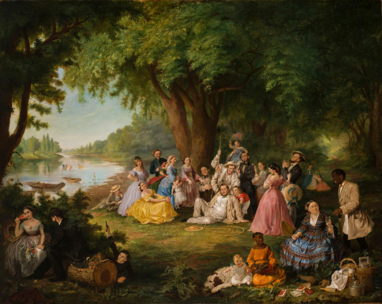 A chubby, light-skinned man in a white suit sprawls on the ground atop a wooden swing seat and frayed rope. A mirthful group of men, women, and children surround him. In the right foreground, a dark-skinned servant watching these antics splashes liquid on a surly older woman.
