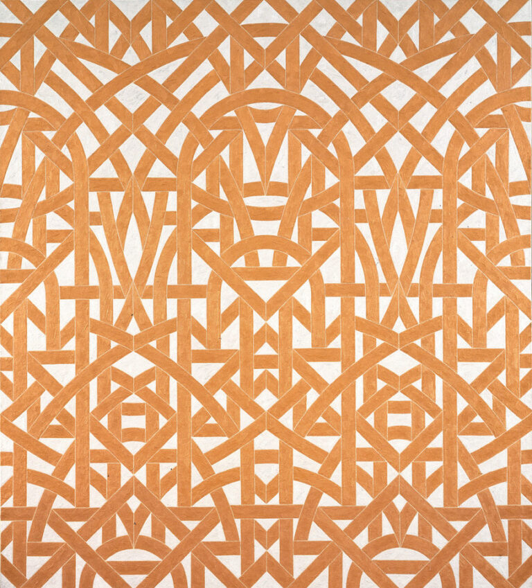 A symmetrical abstract painting of geometric, interlaced, orange lines on a white back ground.