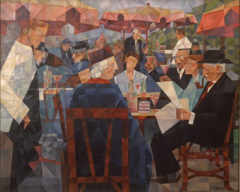 Painting, rendered in Cubist-style, is a kaleidoscope of colorful geometric shapes forming the elements of busy outdoor cafe scene. Waiters in white jackets serve patrons seated at tables shaded by large red sun umbrellas in the background.