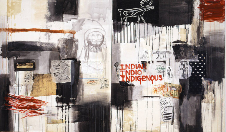 "A horizontal canvas combines collaged paper, such as a scrap of a U.S. map, comic strip, and pictographs; cloth swatches; scrawled and dripped paint; and phrases like ""It takes hard work to keep racism alive"" and ""Oh! Zone."" The work's title appears in red paint right of center."