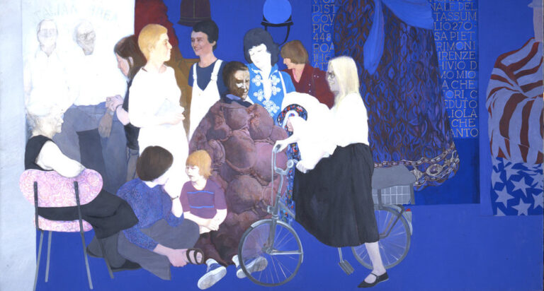 Life-sized, full-length portraits of 12 individuals form a frieze-like composition against a saturated lapis-blue background. Most of those portrayed are noted feminist artists and critics. Details from the artist's earlier paintings appear above and to the right of the figures.