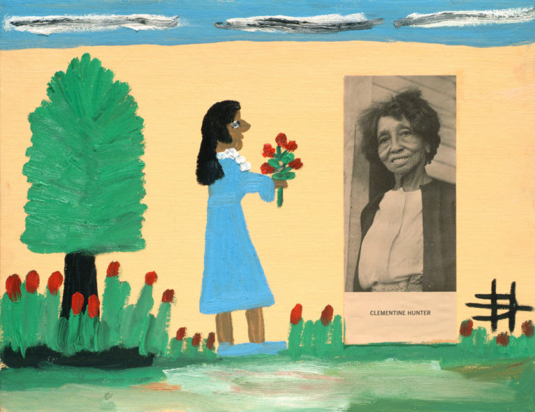 Rendered in a childlike style, the painting depicts a dark-skinned woman in a blue dress offering a bouquet of red flowers to a photograph of the artist affixed to canvas. The woman stands next to a tree surrounded by red flowers with blue sky and gray clouds above her.